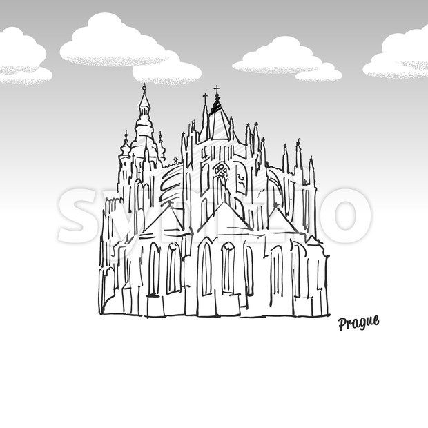 Prague, Czech Republic famous landmark sketch Stock Vector