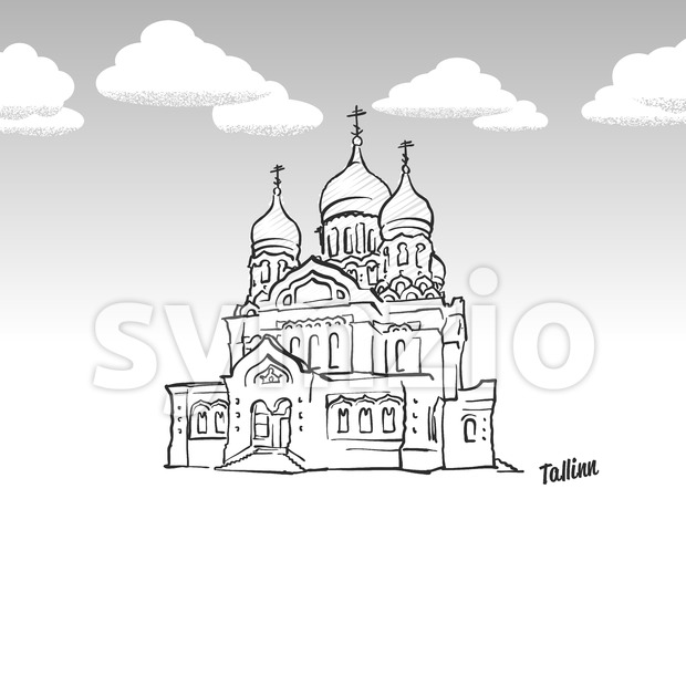 Tallinn, Estonia famous landmark sketch Stock Vector