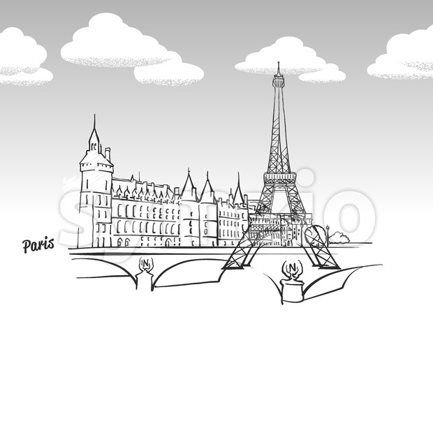 Paris, France famous landmark sketch Stock Vector