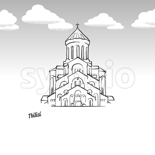 Tbilisi, Georgia famous landmark sketch Stock Vector
