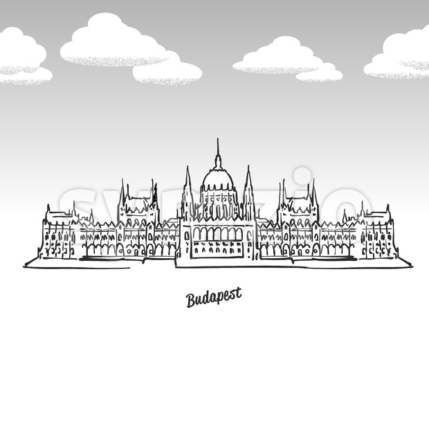 Budapest, Hungary famous landmark sketch Stock Vector