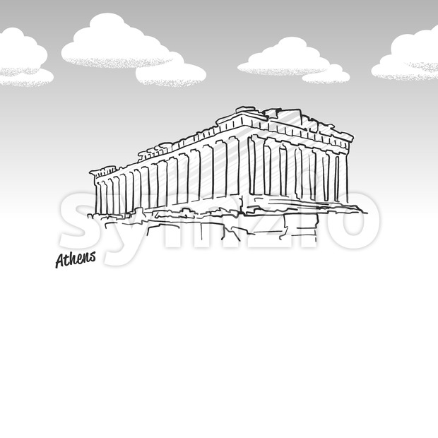 Athens, Greece famous temple sketch. Lineart drawing by hand. Greeting card icon with title, vector illustration