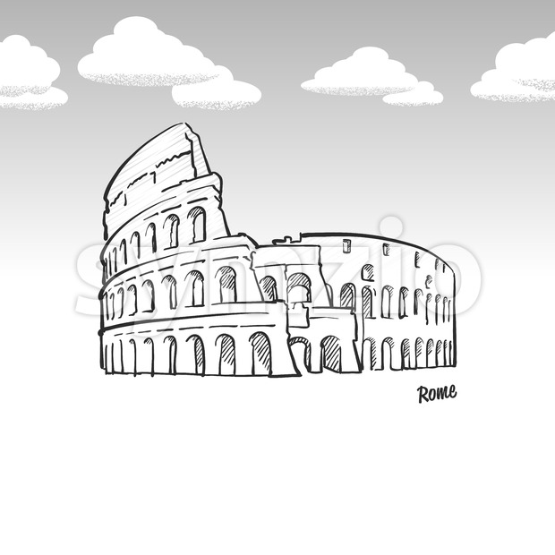 Rome, Italy famous landmark sketch Stock Vector
