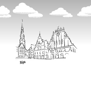 Riga, Latvia famous landmark sketch Stock Vector