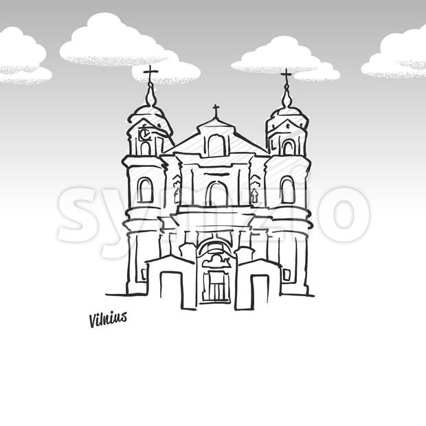 Vilnius, Lithuania famous landmark sketch Stock Vector