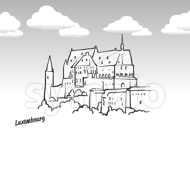 Luxembourg famous landmark sketch Stock Vector