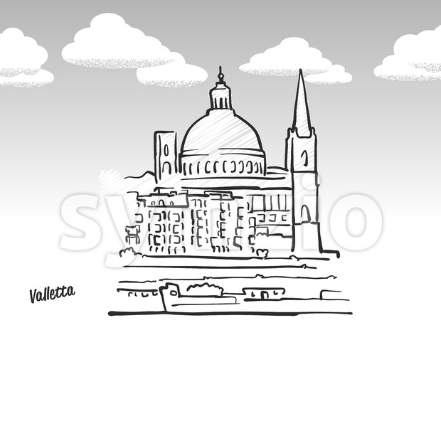Valletta, Malta famous landmark sketch Stock Vector