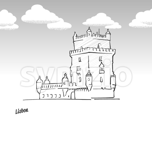 Lisbon, Portugal famous landmark sketch Stock Vector