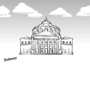 Bucharest, Romania famous landmark sketch Stock Vector