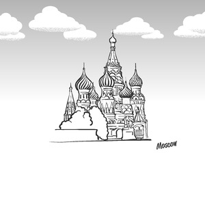 Moscow, Russia famous landmark sketch Stock Vector