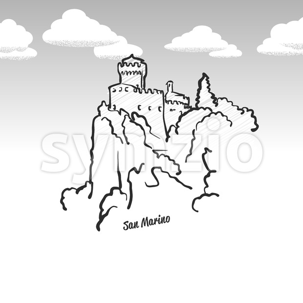 San Marino famous landmark sketch Stock Vector