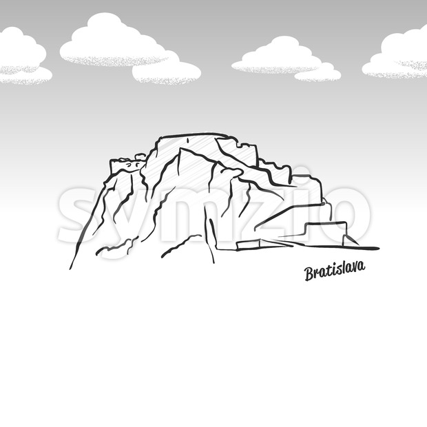 Bratislava, Slovakia famous landmark sketch. Lineart drawing by hand. Greeting card icon with title, vector illustration