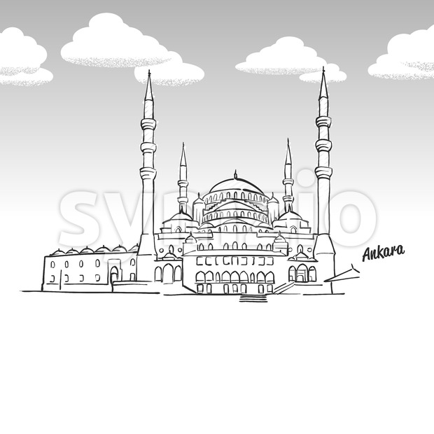Ankara, Turkey famous landmark sketch Stock Vector