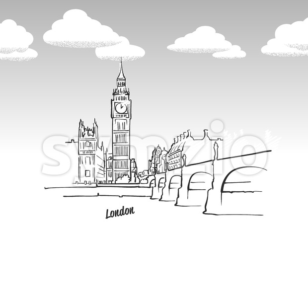 London, United Kingdom famous landmark sketch. Lineart drawing by hand. Greeting card icon with title, vector illustration