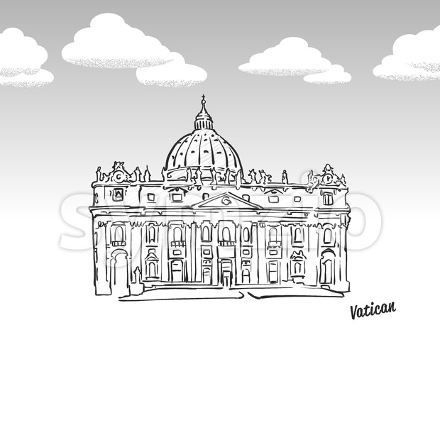 Vatican famous landmark sketch Stock Vector