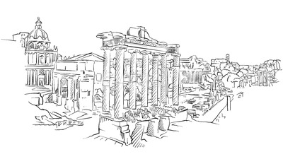 Ancient Rome roman forum Stock Vector