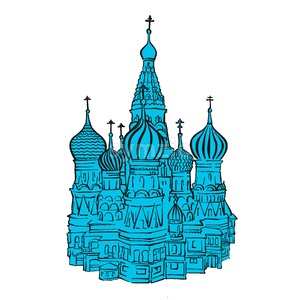 Moscow Kremlin illustration with colored backplate Stock Vector