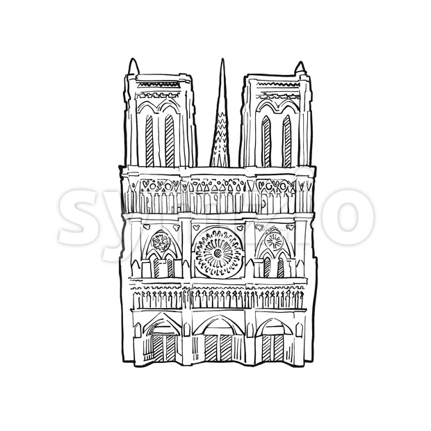 Notre Dame facade illustration. Hand drawn historic landmark. Famous travel destination. Vector art sketch.