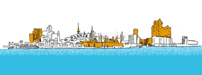 Hamburg Outline Panorama Sketch with colored details Stock Vector