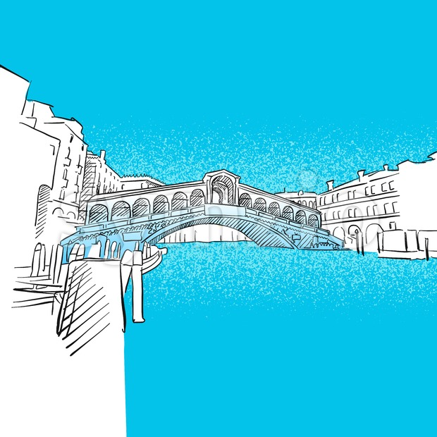Venice Rialto Bridge Stock Vector