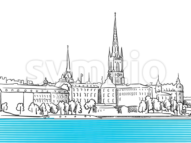 Stockholm waterfront panorama Stock Vector