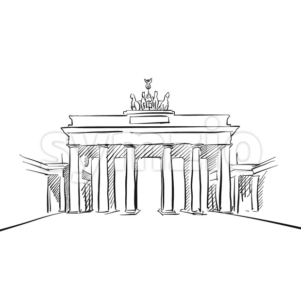 Brandeburg Gate in Berlin. Hand drawn historic landmark. Famous travel destination. Vector art sketch.