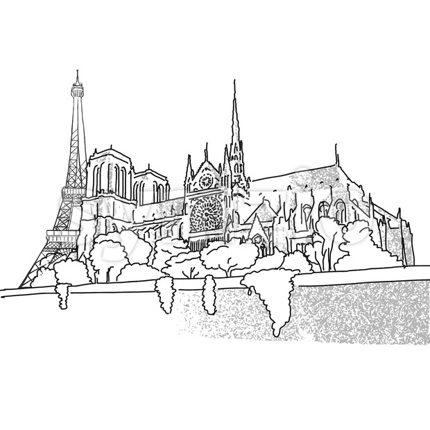 Notre Dame and Eiffel Tower travel scene Stock Vector