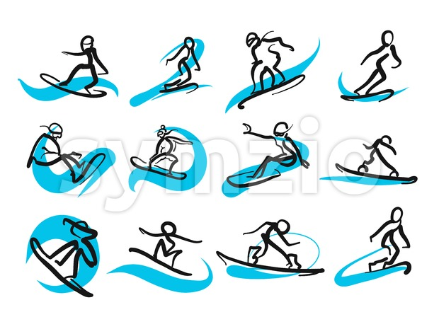 Set of sketched freestyle snowboarding people, hand-drawn vector illustration by two different pens. Black people in foreground, blue moving lines ...