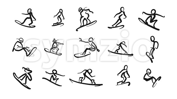 Hand drawn motion studies snoboarder icons Stock Vector