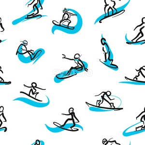 Hand drawn snowboarder icons, seamless pattern Stock Vector