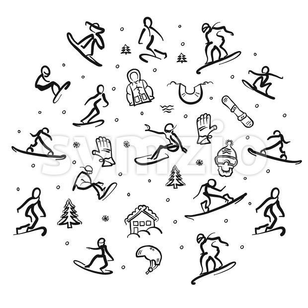 Snowboarding Freestyle Doodle Set Stock Vector