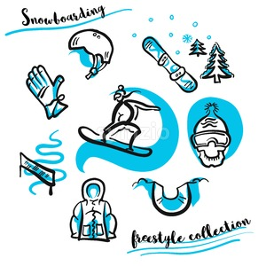 Snowboarding freestyle collection hand drawn set Stock Vector