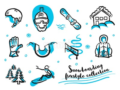 Snowboard freestyle collection icon set Stock Vector