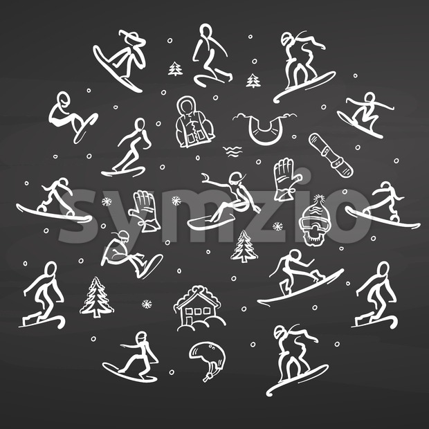 Snowboarding Freestyle Doodle Set on chalkboard Stock Vector