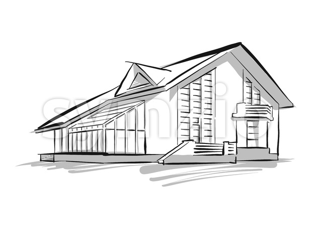 Townhouse Sketch Concept Illustration, Hand drawn vector image. Black lines grey shapes