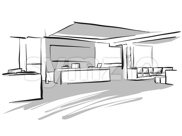 Office entry area design sketch, Concept Illustration, Hand drawn vector image.