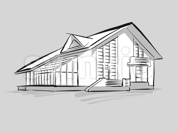 House with conservatory sketch Stock Vector
