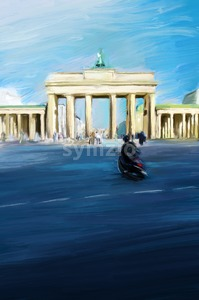 Oil Painting of Brandenburg Gate in Berlin Stock Photo