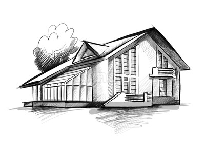 Townhouse Sketch Concept Drawing Stock Photo