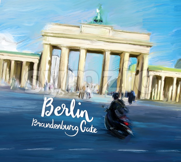 Berlin Brandenburg Gate Movie Poster Design Stock Photo