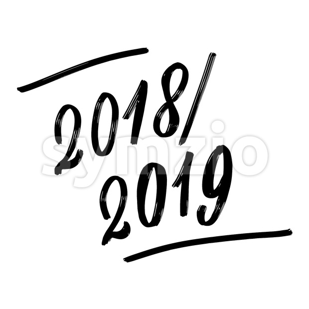 2018 2019 Written phrase, lettering by hand. Calligraphy vector sketch with thick brush pen.