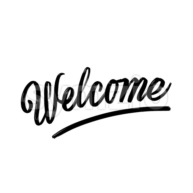 Welcome written phrase, lettering by hand. Stock Vector