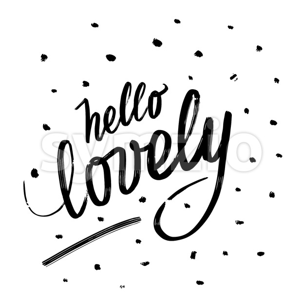 Hello lovely. Written phrase, lettering by hand. Stock Vector