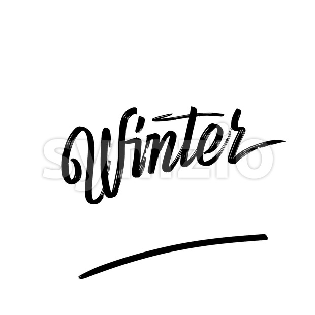 Winter written phrase, lettering by hand. Calligraphy vector sketch with thick brush pen.