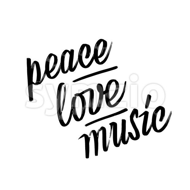 Peace, love, music. lettering by hand. Calligraphy vector sketch with thick brush pen.
