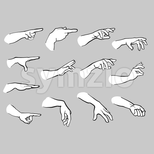 Set of Hands Pointing Stock Vector