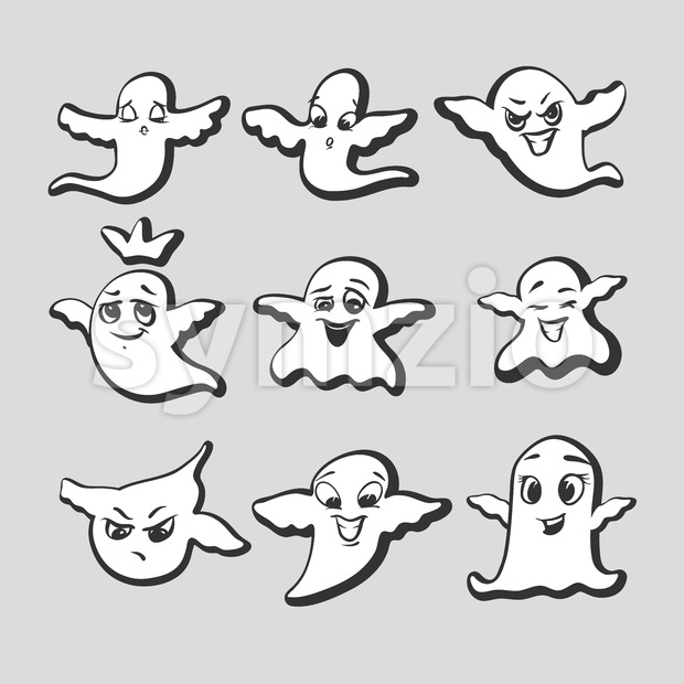 Set of emotional ghosts Stock Vector