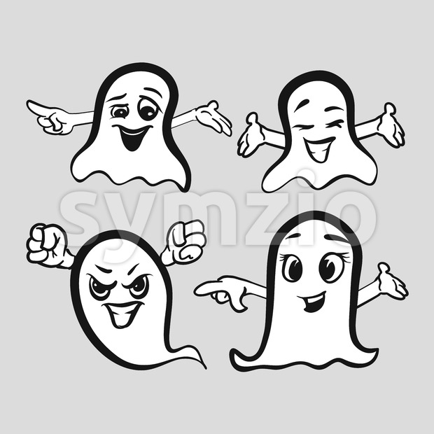 Set of emotional ghosts with hands Stock Vector