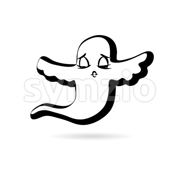 Flying ghost design vector sketch. sketched by hand. Emotional face series.