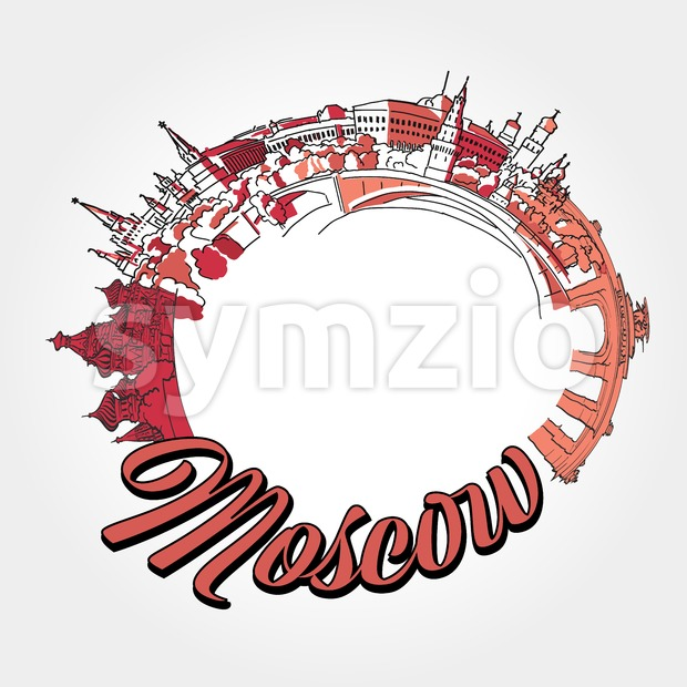 Moscow traveling potser artwork. Stock Vector